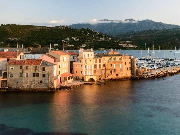 France, Corsica, Saint-Florent, Mediterranean sea, Old town and harbor
