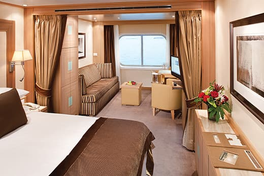 Ocean view Suite on the small-ship, ultra-luxury Seabourn Quest