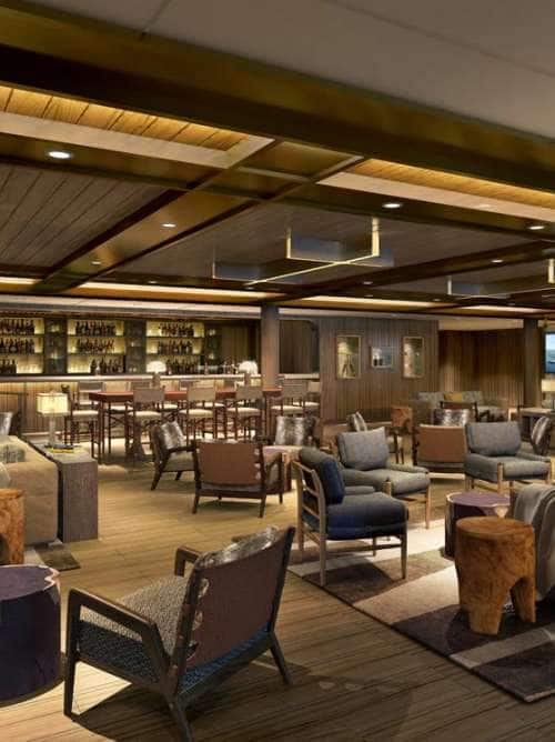 Rendering of new Expedition Lounge on board the ultra-luxury expedition ship Seabourn Venture
