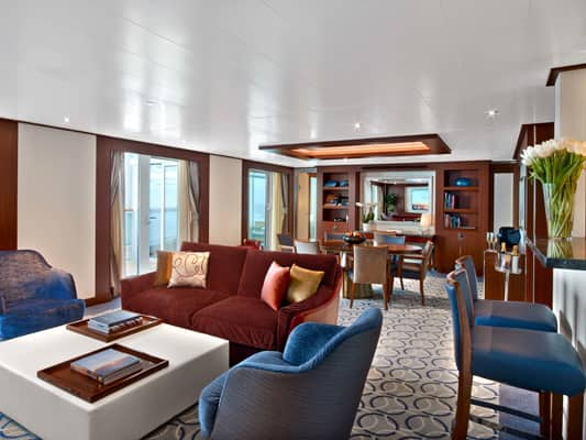 Wintergarden Suite on the small-ship, ultra-luxury Seabourn Encore