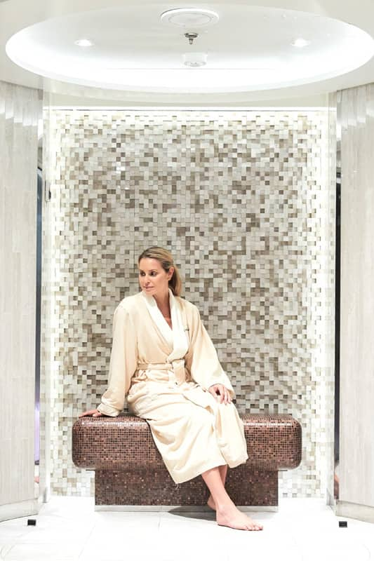 Women relaxing in robe in the relaxation area of The Spa on Seabourn
