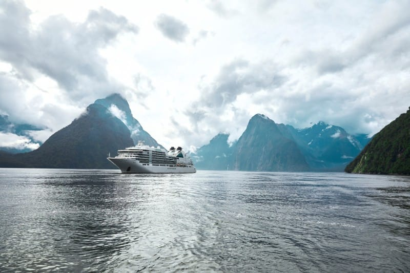 Seabourn Encore in Milford Sound