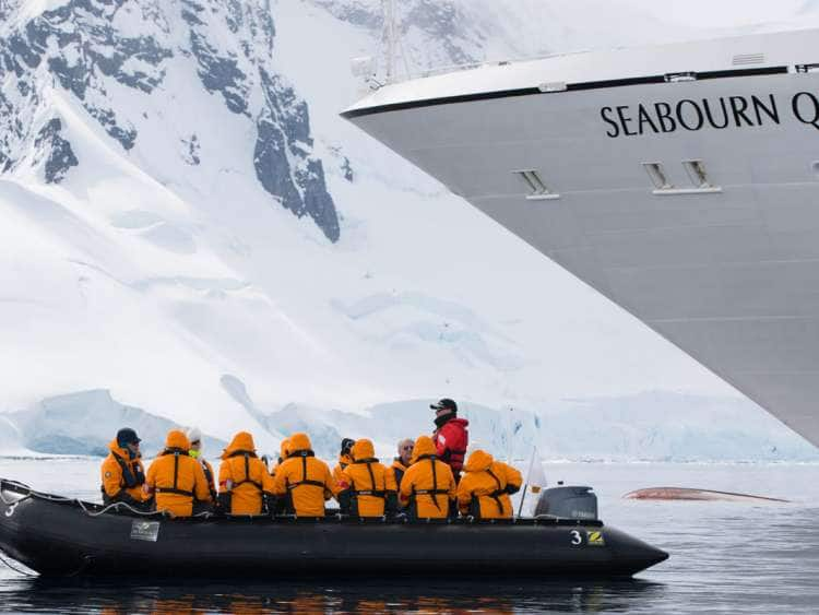 Zodiac transporting guests to the Antarctica shore from Seabourn Quest