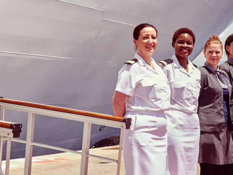 Seabourn Crew on Deck Before Cruise Embarkation