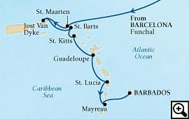 20-day transatlantic and caribbean