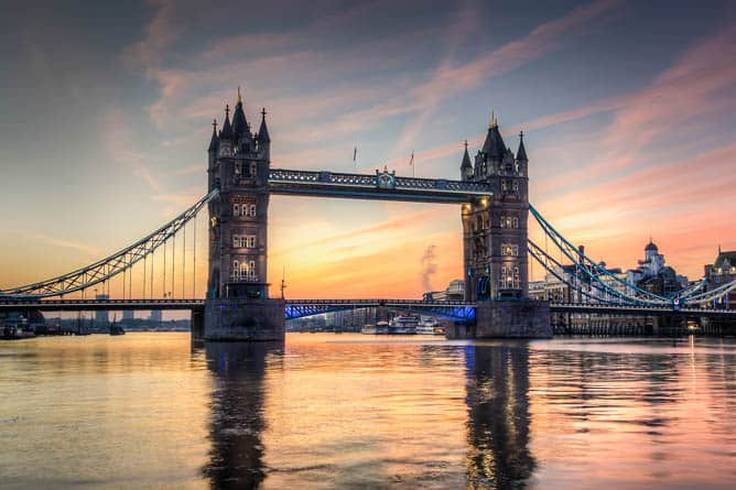 Tower Bridge in London -- Ultra-Luxury Cruises Seabourn