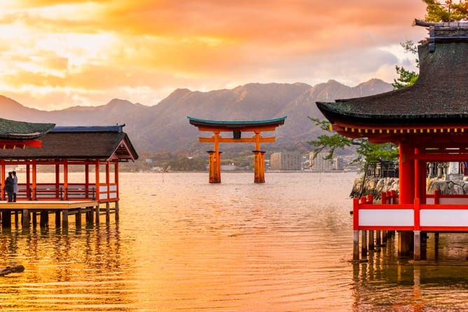 Japanese Lake with pagodas -- Ultra-Luxury Cruises Seabourn