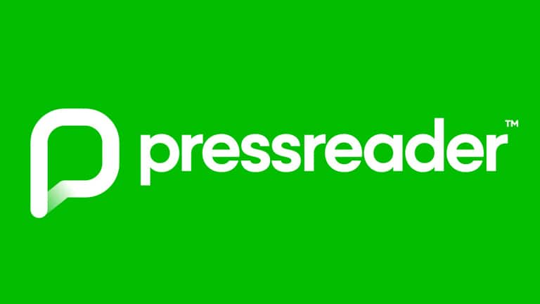 Press Reader logo - green background and white font