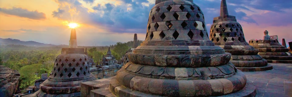 Borobudur temple at sunrise Java Indonesia