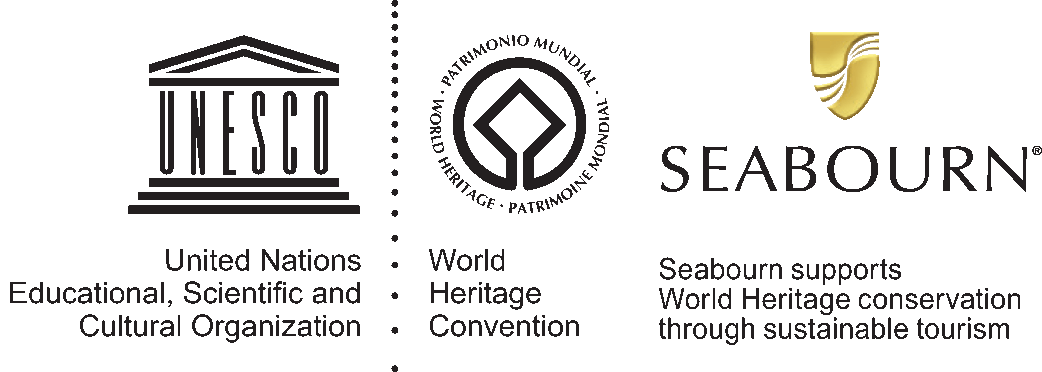 UNESCO logo: United Nations Educational, Scientific and Cultural Organization; World Heritage Convention logo; Seabourn logo: Seabourn supports World Heritage conservation through sustainable tourism.