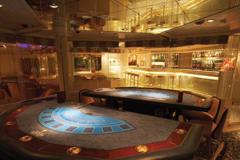 View of the ship casino from the roulette table.
